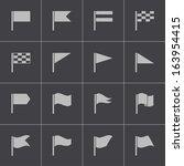 vector black flag icons set | Shutterstock .eps vector #163954415