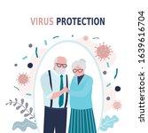 happy elderly love couple. old... | Shutterstock .eps vector #1639616704