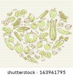 vegetables arranged in heart... | Shutterstock .eps vector #163961795