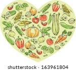 vegetables arranged in heart... | Shutterstock .eps vector #163961804