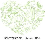 vegetables arranged in heart... | Shutterstock .eps vector #163961861