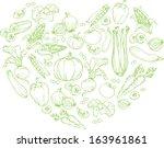 vegetables arranged in heart... | Shutterstock .eps vector #163961861