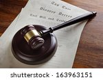 gavel and legal papers last... | Shutterstock . vector #163963151