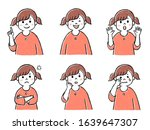 a girl with various expression | Shutterstock . vector #1639647307