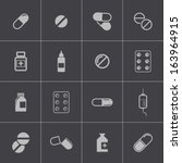 vector black pills icon set | Shutterstock .eps vector #163964915