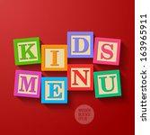 kids menu cover   wooden blocks....
