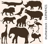 Stock vector vector set of tropical animals silhouettes 163969421