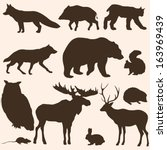 vector set of forest animals silhouettes - stock vector