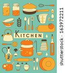 set of kitchen utensil in retro ... | Shutterstock .eps vector #163972211