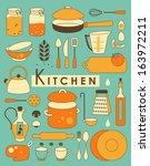 set of kitchen utensil in retro ... | Shutterstock .eps vector #163972211