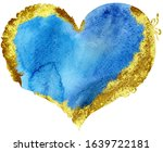 Watercolor Blue Heart With Wit...