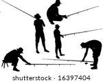silhouette of fisherman... | Shutterstock .eps vector #16397404