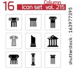 vector black column icons set | Shutterstock .eps vector #163977395