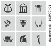 vector black greece icons set | Shutterstock .eps vector #163977401