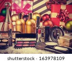 cosmetics on christmas gifts... | Shutterstock . vector #163978109