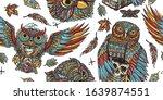 owls seamless pattern. fairy... | Shutterstock .eps vector #1639874551