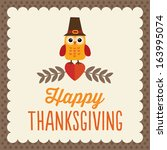 retro thanksgiving day card... | Shutterstock . vector #163995074