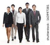portrait of five business... | Shutterstock . vector #163997381