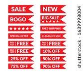 red flag banner discount sale... | Shutterstock .eps vector #1639998004