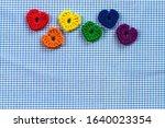 Six Crocheted Hearts. Rainbow...