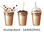 bubble tea drink. cold tea with ... | Shutterstock .eps vector #1640029441