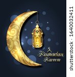 crescent islamic with lantern... | Shutterstock .eps vector #1640032411