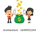 cartoon business people earning ... | Shutterstock .eps vector #1640052244