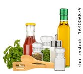 set of seasoning and condiments ... | Shutterstock . vector #164006879