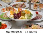 made dish. fruit salad on the... | Shutterstock . vector #1640075