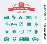 camping flat icon set with...