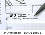 the pen and notebook on the tax ... | Shutterstock . vector #1640115511