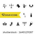 light source icons set with eco ...