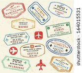 colorful fictitious visa stamps ... | Shutterstock .eps vector #164015531