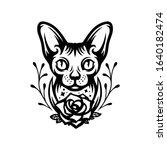 sphinx cat head portrait tattoo ... | Shutterstock .eps vector #1640182474