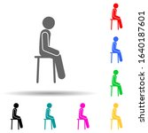 chair  man  sit multi color...