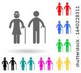elderly couple multi color...
