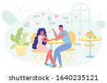 romantic date couple in love in ...   Shutterstock .eps vector #1640235121
