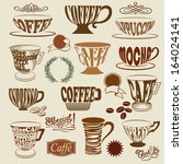 coffee shop icons and symbols   ... | Shutterstock .eps vector #164024141