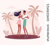 people dancing salsa  kizomba ... | Shutterstock .eps vector #1640250421