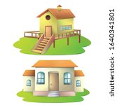 a wooden house and pacca house... | Shutterstock . vector #1640341801