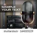 recording studio and microphone ... | Shutterstock .eps vector #164035229