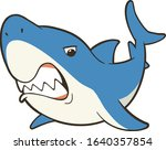 shark with open mouth and sharp ... | Shutterstock .eps vector #1640357854