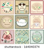 happy birthday card set with... | Shutterstock .eps vector #164040374
