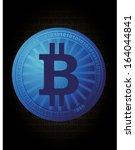 digital money bitcoins vector... | Shutterstock .eps vector #164044841