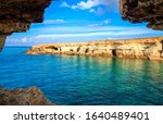 View from sea cave near Cape Greko(Capo Greco) of Ayia Napa and Protaras on Cyprus island, Mediterranean Sea.