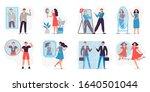 people looking in mirror. love... | Shutterstock .eps vector #1640501044