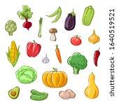 set of vegetables on white... | Shutterstock .eps vector #1640519521