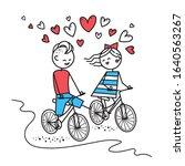 happy boy and girl ride bike... | Shutterstock .eps vector #1640563267