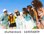 image of young people having... | Shutterstock . vector #164056859