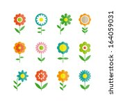 Stock vector flowers vector design set of floral icon 164059031